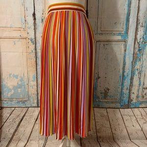 Forever 21 pleated striped midi skirt